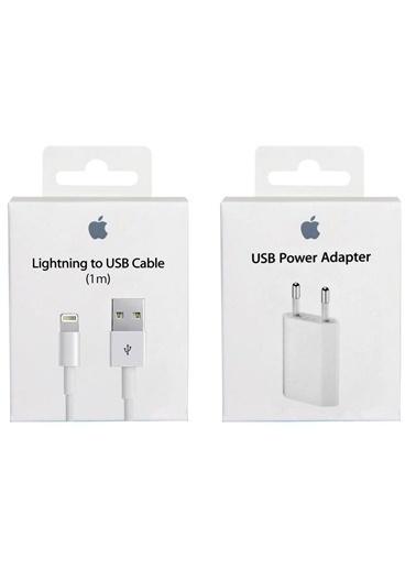 Apple 1m iPhone Kablo + 5W Şarj Aleti, iPad, İpod Şarj Lightning 1 Metre Şarj Data Kablosu Renkli